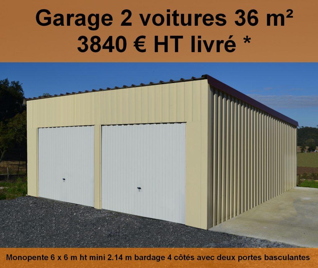 garage 2 voitures abris france. Black Bedroom Furniture Sets. Home Design Ideas